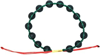 VOS Lifestyle Bracelets VOS Diffuser Bracelet | Bracelets Handmade Green Red Yellow Waxed String Wrap Bracelet for Men & Women 14 Black Lava Rock Beads | Unisex Handcrafted Pull Cord Adjustable 6.0-8.0 Inch Wrist | Rasta