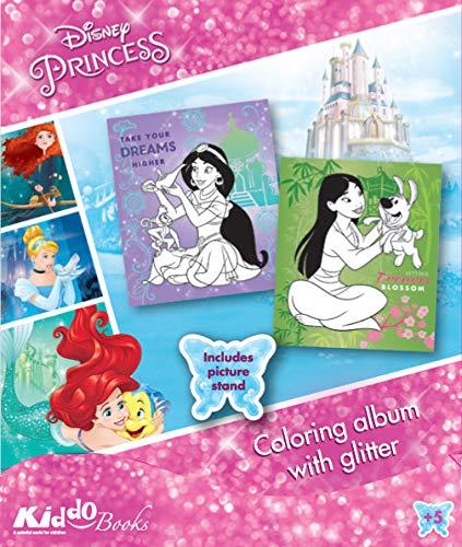 QuackDuck Disney Malblock Princess - Prinzessinnen - Coloring Album mit Glitzer Glitter (9054)