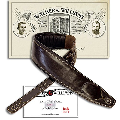 Walker & Williams Super Wide 4' Double Padded Top Grain Dark Brown Leather Bass Strap
