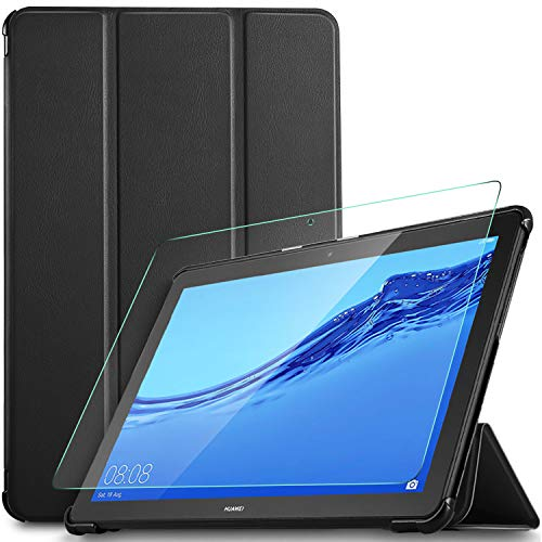 IVSO Custodia Cover per Huawei Mediapad T5 10, Slim Smart Protettiva Custodia Cover in Pelle PU con 2.5D, 9H Vetro Temperato, Nero + 1 Pack