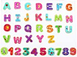 Toys of Wood Oxford TOWO Letras y números magnéticos de Madera - Imanes de Nevera para niños - Imanes de Letras y números del Alfabeto para niños - Juguetes de Aprendizaje de ortografía y ABC