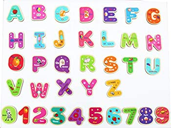 Toys of Wood Oxford Wooden Magnetic Letters and Numbers - Fridge Magnets for Kids- Alphabet Letter and Number Magnets for Children- ABC and Spelling Learning Toy