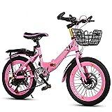 XIAOFEI Bicicletta Pieghevole Bambini, Maschio E Femmina, 6-10 Anni, 18 20 22 Pollici, Doppio Freno, Mountain Bike A 6 velocità, Biciclette per Studenti Adatte per Altezza 110-130 Cm,Rosso,20'