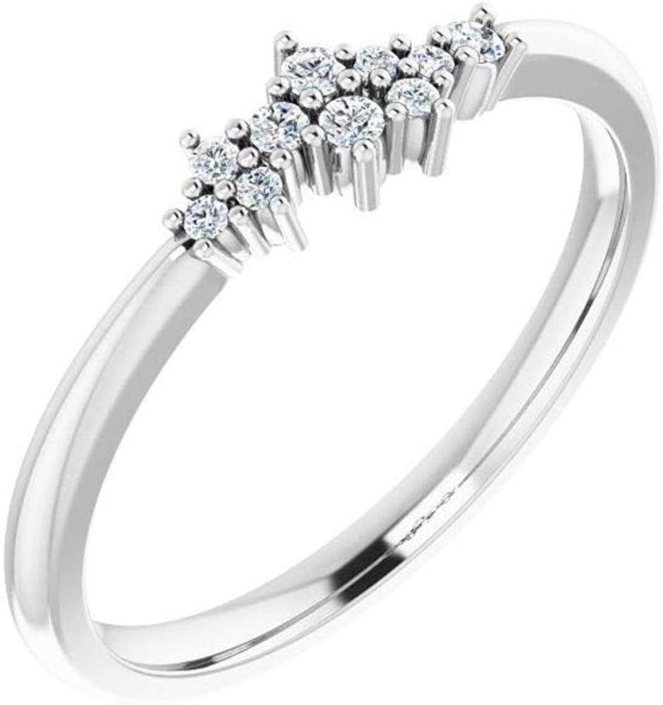 Solid 14k White Gold .08 Cttw Diamond Stackable Wedding Anniversary Cluster Ring Band (Width = 4.3mm) - Size 6.5