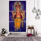 N / A Pintura sin Marco Arte HD Cartel Pared Modular 3 Piezas Dios hindú Elefante Lienzo Decoración del hogarCJX1253 60x80cmx3