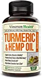 Turmeric Curcumin with Hemp Oil Powder and Bioperine. Joint Discomfort Relief, Balanced Inflammation. Stress and Sleep Support Supplement with Curcuminoids and Black Pepper. 60 Capsules