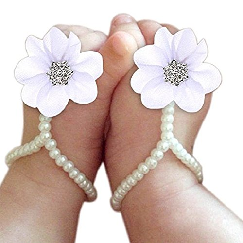 Catpapa Baby Girl Foot Flower Shoes Barefoot Sandals Pearl Chiffon (White)