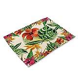 ZCHPDD Plant Serie Baumwolle Und Leinen Westlichen Tischset Frische Blumenblätter Hersteller Liefern Geschirr Matte C 42 * 32Cm * 4Pcs