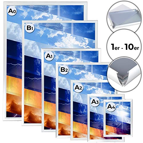 Jago Klapprahmen - Aluminium, DIN A0, A1, A2, A3, A4, B1, B2, 25mm, Setwahl 1er-10er, Klicksystem, PVC Schutzfolie, Silber - Wechselrahmen, Bilderrahmen, Plakatrahmen