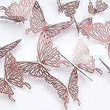 24 pcs Mariposas Decorativas 3D, CAYUDEN Extraíbles 3 Tamaños Espejos Decorativos de Pared Decoraciones Paredes Pegatinas pared Decorativas 3D para Fiesta Boda Dormitorio Jardin Niño Decoración