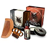 BEARD GAINS Valhalla Complete Vikings 100% Organic Scented Everyday Carry Beard Care Kit W/Beard Oil, Conditioner, Balm, Metal Mustache Comb & Wood Beard Comb   Beard Grooming Kit