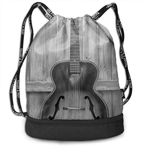 DJNGN Kordelzug Rucksack, Gitarre auf Alten Holzzaun drucken Sport Travel Gym Bundle Rucksack Tasche