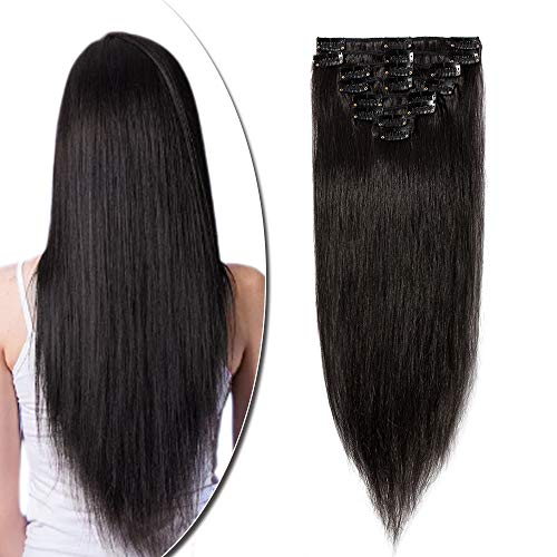 Extension a Clip Cheveux Naturel Type Fin - Rajout Vrai Cheveux Humain - 8 Bandes (#1B Noir naturel, 25 cm (50 g))
