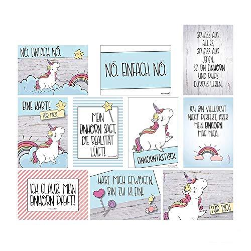 2 x 10 Postkarten mit Einhorn-Motiven I DIN A6 I Spruch-Karten Set lustig witzig Zitate Freundschaft Motivation für Bilderrahmen beste Freundin I dv_338