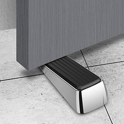 Silent Rubber and Aluminum Alloy Black Door Stopper,Sliding Security Door Wedge Stop for Home Kitchen Apartment Company Door,Portable,2 Pieces