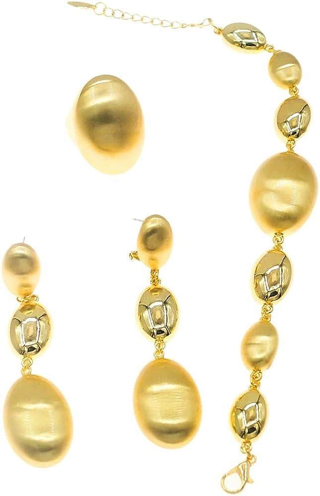 Yulaili Elegant Brazilian Gold Fashion Earrings Bracelet Ring 18K Gold Dubai Jewelry Set