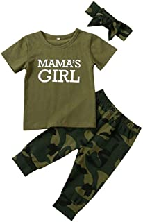 Toddler Baby Boys Girls Camouflage Clothes Spring Outfit Army Green Tops T-Shirt+Camo Pants Clothing Sets