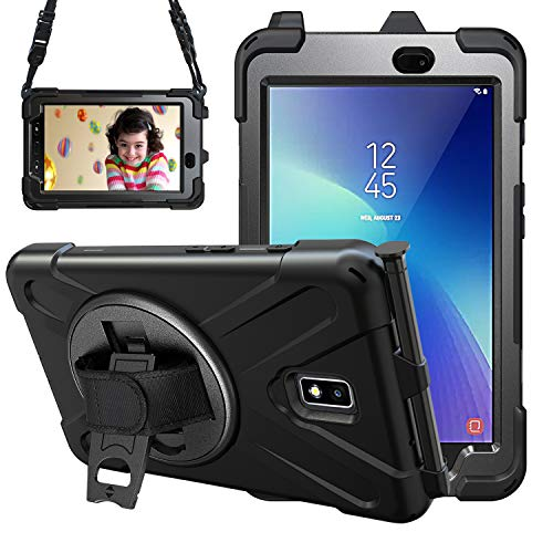Gerutek Samsung Galaxy Tab Active 2 T390/T395/T397 Case Heavy Duty Shockproof Rugged Tough Case with Pen Holder, Rotating Stand and Hand/Carry Strap Protective Cover for Samsung T390/T395/T397,Black