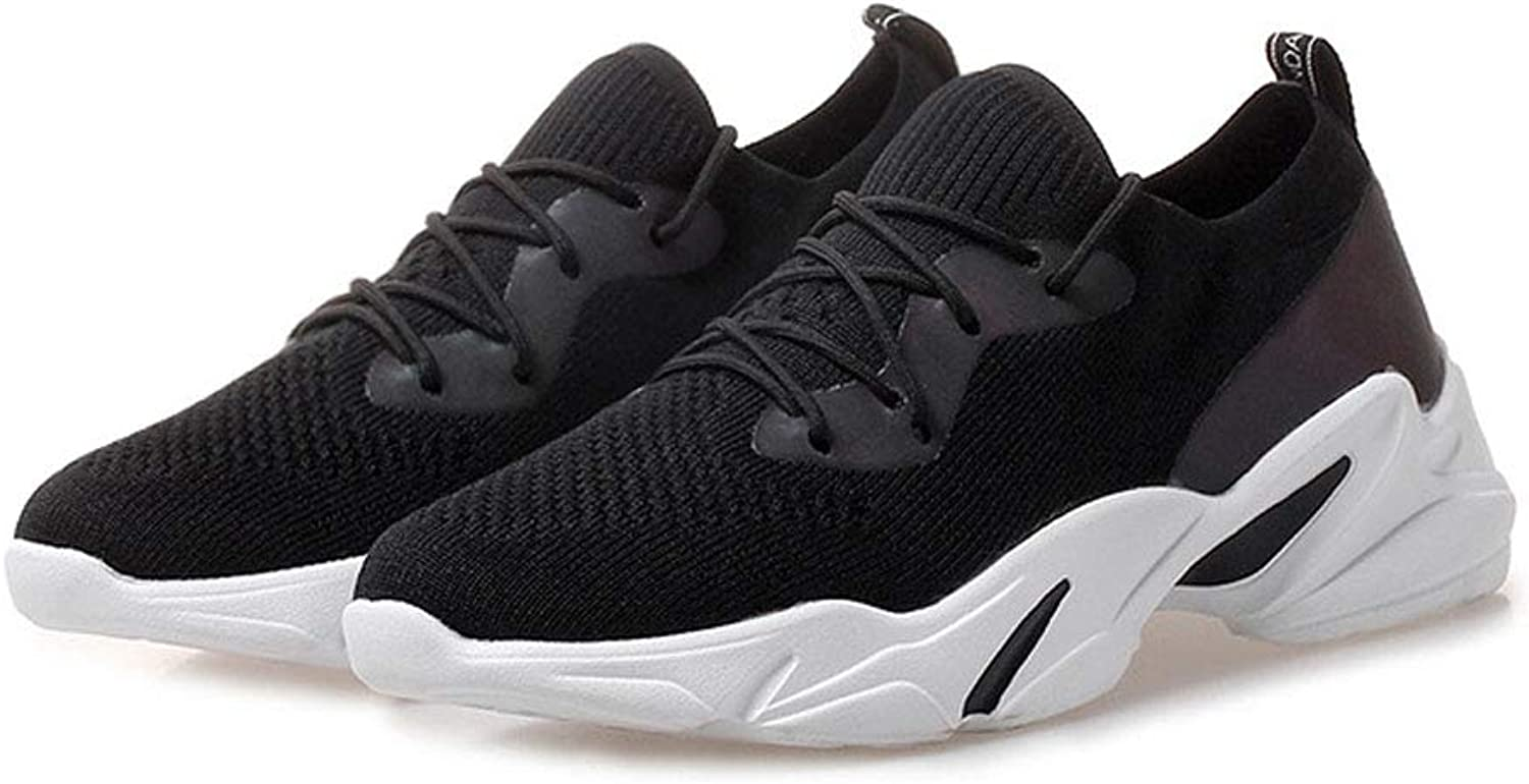 FFSH Sports shoes Fly Woven mesh Breathable Sports shoes Set Foot Fashion Casual Running shoes-black-38