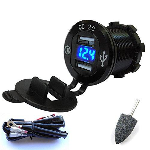AKEEYO オートバイ用 QC3.0 急速充電対応 電圧表示可能 USB2ポート シガーライターソケットチャージャー 配線取付(1.5mケーブル) 12V/24V両対応 快速充電器
