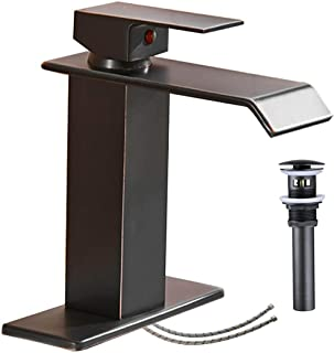Bathroom Faucet Oil Rubbed Bronze Waterfall Sink Single Hole with Pop Up Drain Vanity Lavatory Basin Mixer Tap One Handle ...