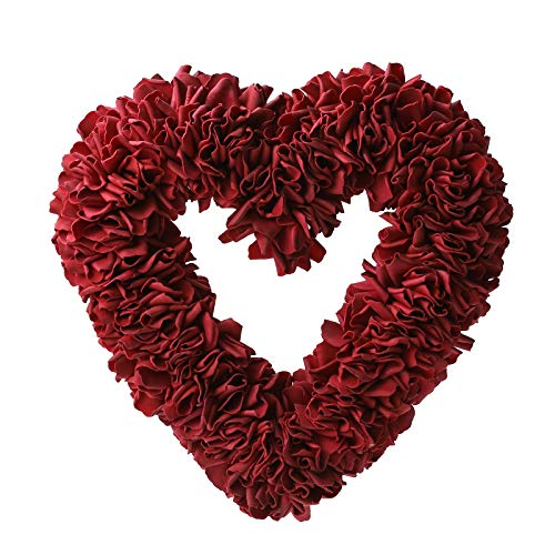 Orrhyunii 13' Wreath Floral Rose Wall Wreaths Heart Shaped Artificial Simulation Decorative Valentine's Day Front Door Decorations Flowers for Home, Wedding, Staircase, Party