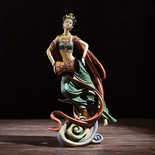 FENGJIAREN Estatuas,Estatuillas,Esculturas,Flying Green Baterista Figurillas De Carácter Modelo Dama Home Salón Armario Bodega Regalos De Boda Decoración De Estilo Chino Resina Artesanía Creativa
