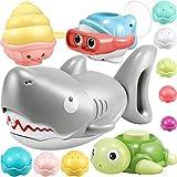 Geyiie Baby Badespielzeug-Set 12 Stücke Badewanne Schwimmendes Wasserspielzeug Seifenblasen Spielzeug Poolspielzeug für Babys und Kleinkinder