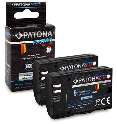 PATONA 2X Platinum Bateria LP-E6NH 2250mAh Compatible con Canon EOS R5, R6, 70D, 80D, 90D, de Calidad Probada y fiable
