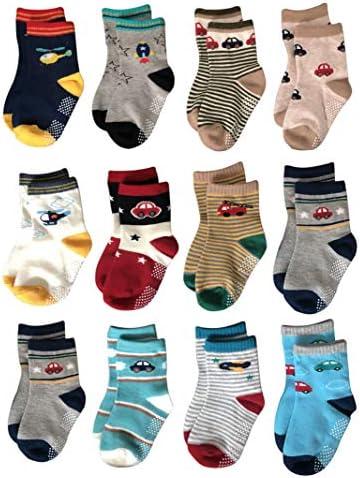 12 Pairs Toddler Anti Slip Socks Kids Non Skid Cozy Cotton Socks Baby Walker Stretch Cartoon product image
