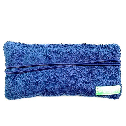 Warmables Eye Pillow Heat Pack soothes headaches, migraines, dry eye, stress relief. Unscented,100% natural cherry pit filler, reusable, washable, microwavable, navy terry cloth, Made in the USA.