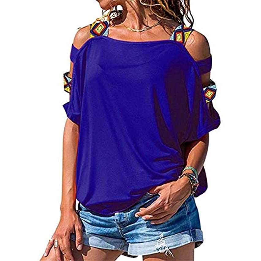 2019 Hot Style Women Off Shoulder Sticting Hollow Up Blouses Short Sleeve Casual Everyday T-Shirt