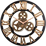 zhangxin 12' inch Noiseless Silent Gear Wall Clock - Large 3D Retro Rustic Country Decorative Luxury Art Big Wooden Vintage Steampunk Industrial Decor for House Warming Gift-Roman-Anti-Bronze