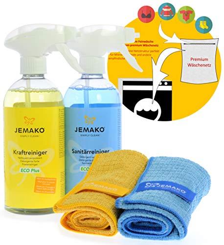 Jemako Reiniger-Set - Kraftreiniger ECO Plus (500 ml-Flasche + Schaumpumpe) - Sanitärreiniger ECO Plus (500 ml-Flasche + Schaumpumpe) - 2 x Profituch klein (35 x 40 cm)