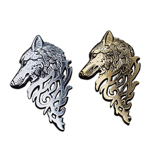 Seraphis Wolf Head Badge Set of 2 Brooch Lapel Pin Winter Wolves Fantasy Gift