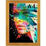 Marco de fotos A4, madera maciza, cristal de plexiglás, marco para mesa y montaje en pared (nogal)
