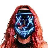 Maschera LED Halloween, the Purge Mask LED che si Illumina nella Notte, LED Maschera Viso 3 Modalità di Luci, Maschera da La Notte Del Giudizio per Costume Cosplay Festa e Party di Carnevale - Blu