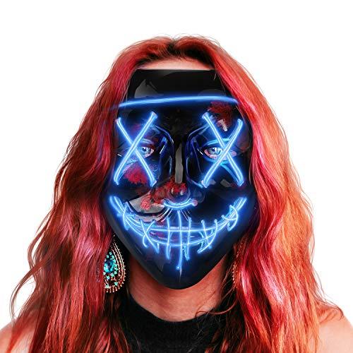 AnanBros Halloween Maske, LED Purge Maske im Dunkeln Leuchtend, Halloween Purge Maske 3 Beleuchtungsmodi für Kostümspiele Cosplays Feste und Partys - Blau