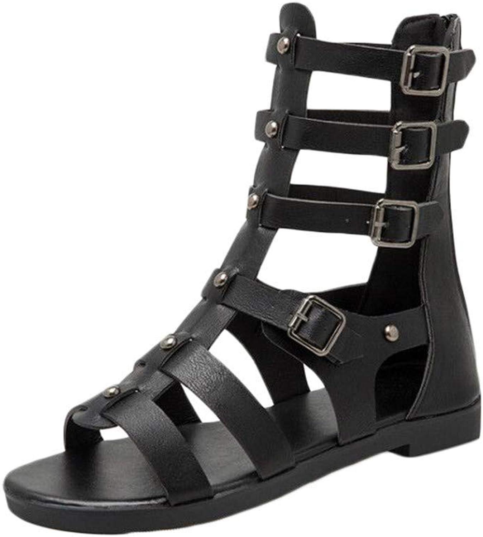 Jun Womens Summer Espadrille Ankle Strap Flat Sandals Peep Toe Flip-Flop shoes (color   Black, Size   6 M US)