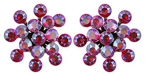 KONPLOTT Magic Fireball Classic Ohrstecker für Damen | Exklusive Designer-Ohrringe mit 32 Swarovski Steinen | Glamouröser Ohrschmuck passend zu jedem Anlass | Handgefertigter Damen-Schmuck | Rot/Lila