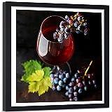 Affiche cadre noir Verre de Vin Raisin Fruits Image Photo Art Cuisine rouge 40x40 cm