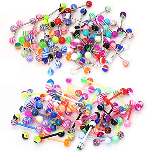 CrazyPiercing Wholesale 14g Tongue Rings Barbells Assorted Colors 110 PCS Acrylic Ball