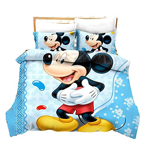 Evvaceo Juego de cama infantil de 3 piezas, funda de edredón azul con diseño de gato de dibujos animados, 200 cm x 200 cm, con 2 fundas de almohada 3D (doble)