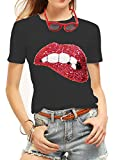 Women's Sequined Sparkely Glittery Lip Print T Shirt Cute Embroidery Teen Girls Tops (XXL,Black)