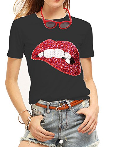 Women's Sequined Sparkely Glittery Lip Print T Shirt Cute Embroidery Teen Girls Tops (L,Black)