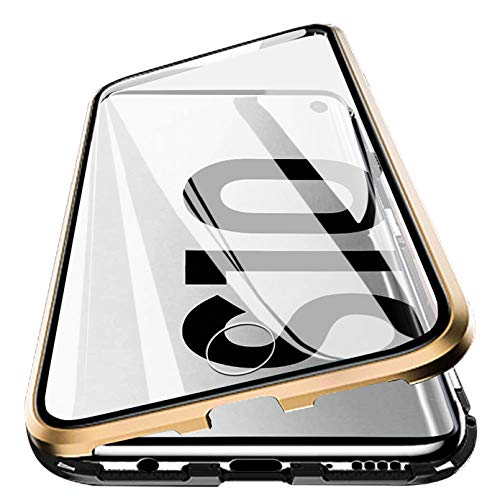 Vsmano Galaxy S10 Magnetic case, 360° Transparent Tempered Glass Shockproof Magnetic Adsorption Metal Bumper Flip Cover (Clear Gold Black)