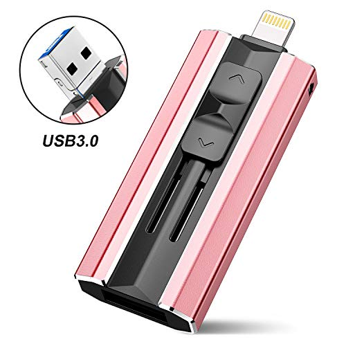 iOS Flash Drive 128GB iPhone Memory Stick, SCICNCE Thumb Drive USB 3.0 Photo Stick Compatinle with iPhone iPad Android and Computers (Pink)