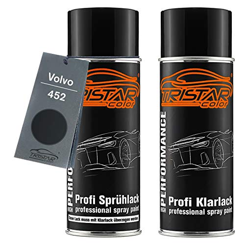 TRISTARcolor Autolack Spraydosen Set für Volvo 452 Black Saphire Metallic/Noir Braise Metallic Basislack Klarlack Sprühdose 400ml