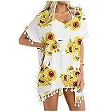 Traje de baño para mujer, muselina de seda, para playa, bañador y vestido, camisa corta, informal