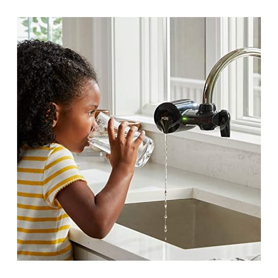 PUR PFM100B Faucet Water Filtration System, Horizontal, Black 6 PUR ADVANCED FAUCET WATER FILTER:PUR Advanced Faucet Filter in Chrome attaches to your sink faucet, for easy, quick access to cleaner, great-tasting filtered water. A CleanSensor Monitor displays filter status, so you know when it needs replacement. Dimensions: 6.75 W x 2.875 H x 5.25 L FAUCET WATER FILTER: PUR's MineralClear faucet filters are certified to reduce over 70 contaminants, including 99% of lead, so you know you're drinking cleaner, great-tasting water. They provide 100 gallons of filtered water, or 2-3 months of typical use WHY FILTER WATER? Home tap water may look clean, but may contain potentially harmful pollutants & contaminants picked up on its journey through old pipes. PUR water filters, faucet filtration systems & water filter pitchers reduce these contaminants